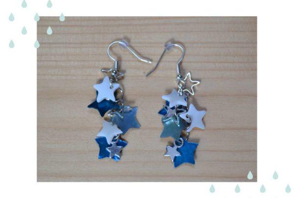 boucles d'oreilles étoiles bleu nacre métal argenté
