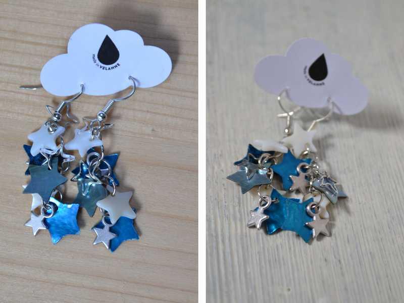 boucles d'oreilles étoiles nacre bleu et blanc