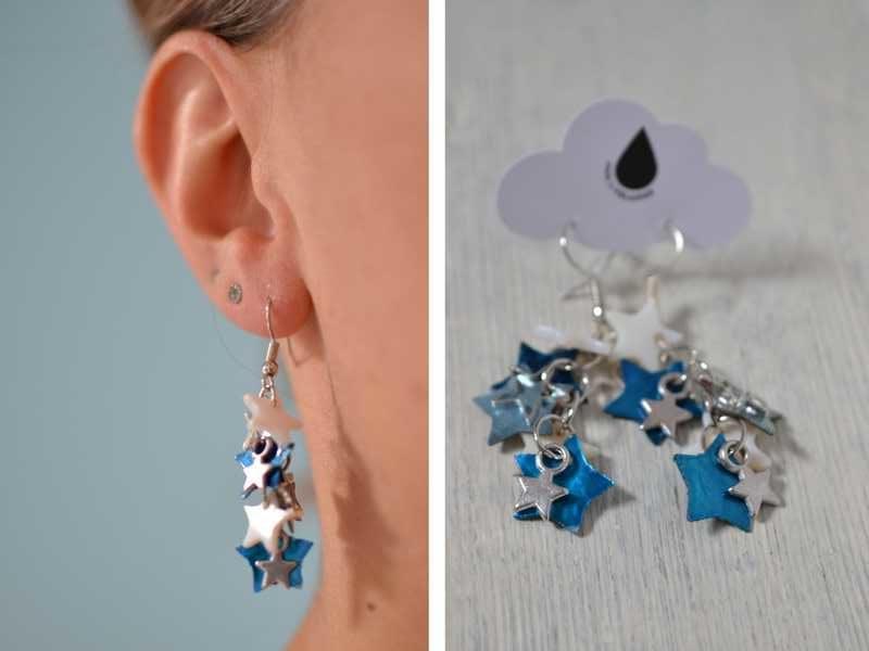 boucles d'oreilles bleues étoilées portées