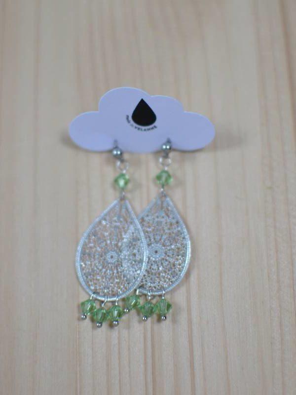 boucles d'oreilles gouttes argentées et perles vertes