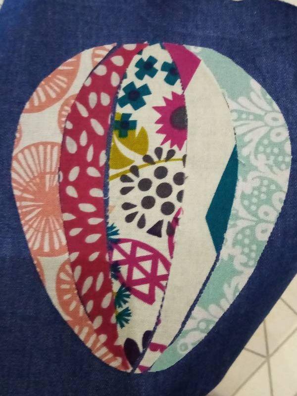collage pans de tissu montgolfière