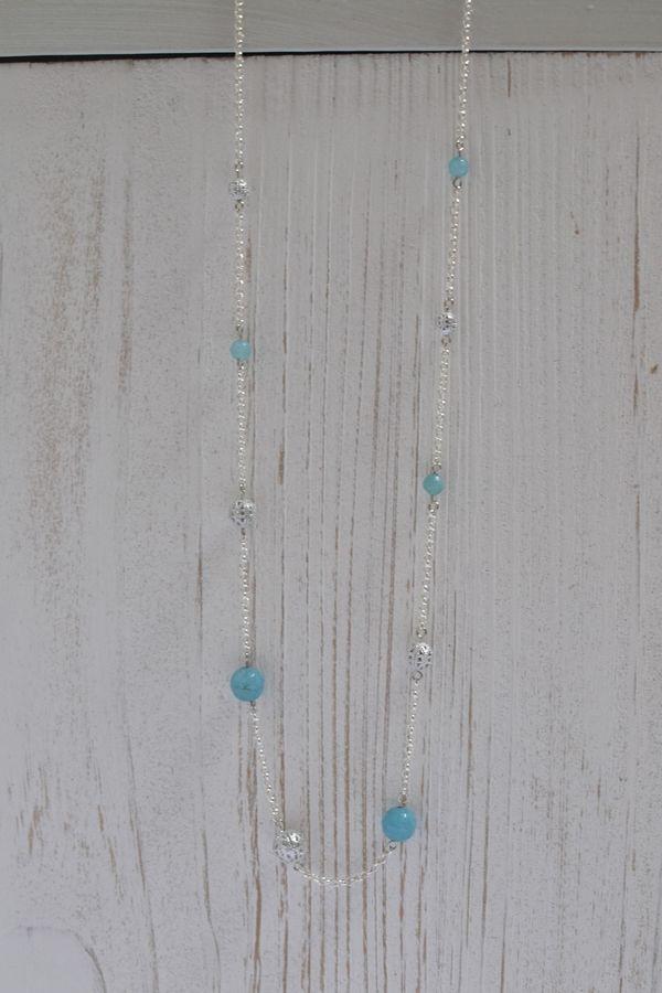 sautoir fantaisie métal argenté et quartz bleu