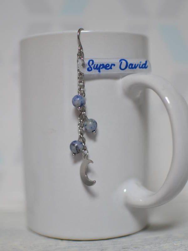 boule à thé fantaisie sur-mesure lune, perles bleues, Super David