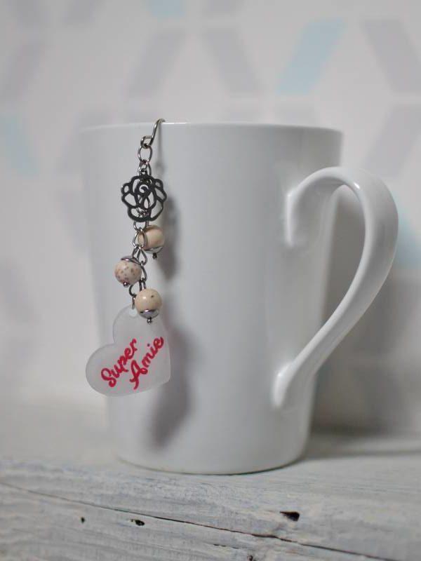"""boule à thé sur-mesure """"super amie"""" fleur, beige et rose/rouge"""