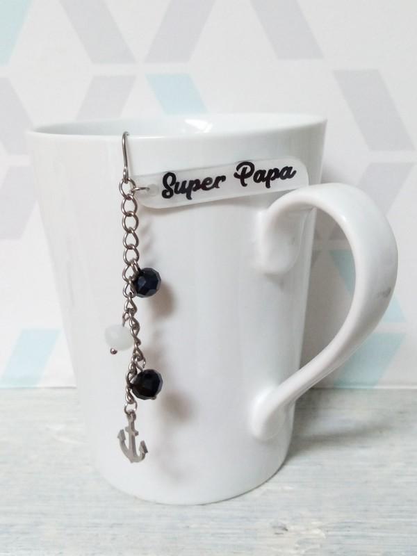 boule à thé sur-mesure Super Papa noir & blanc