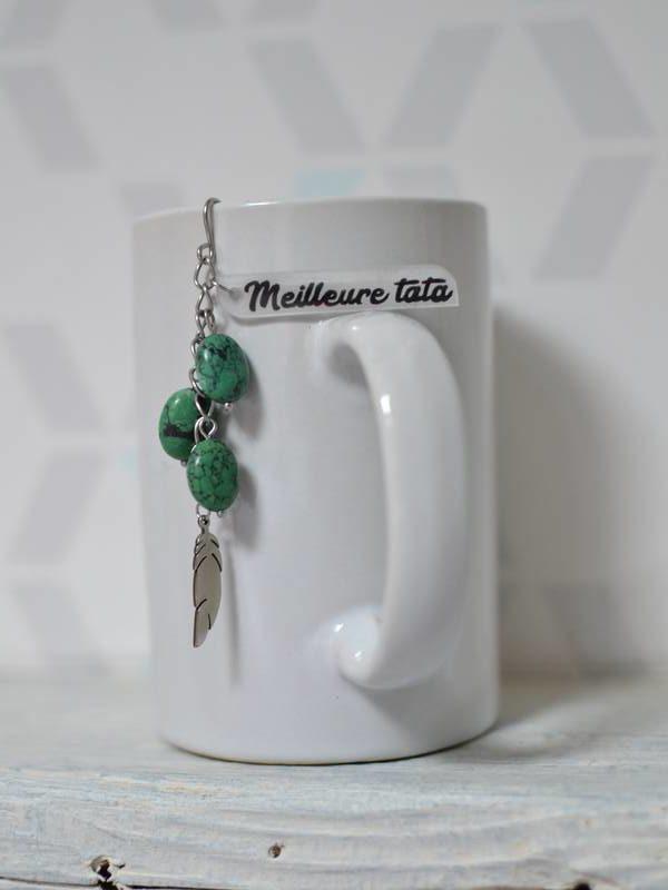 """boule à thé """"Meilleure tata"""" plume, vert foncé et noir"""
