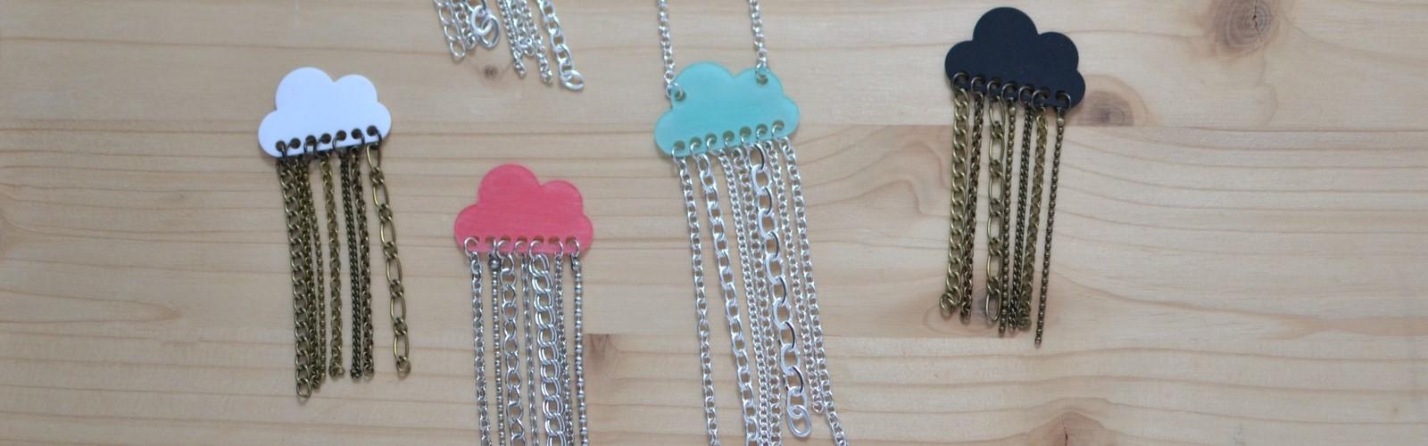 Collection de bijoux nuages colorés et pluie de chaînettes #BDJ144