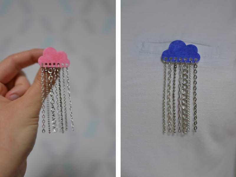 broches nuages bleu électrique et rose corail chaînettes argentées