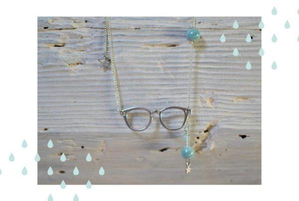 sautoir lunettes argenté et bleu ciel