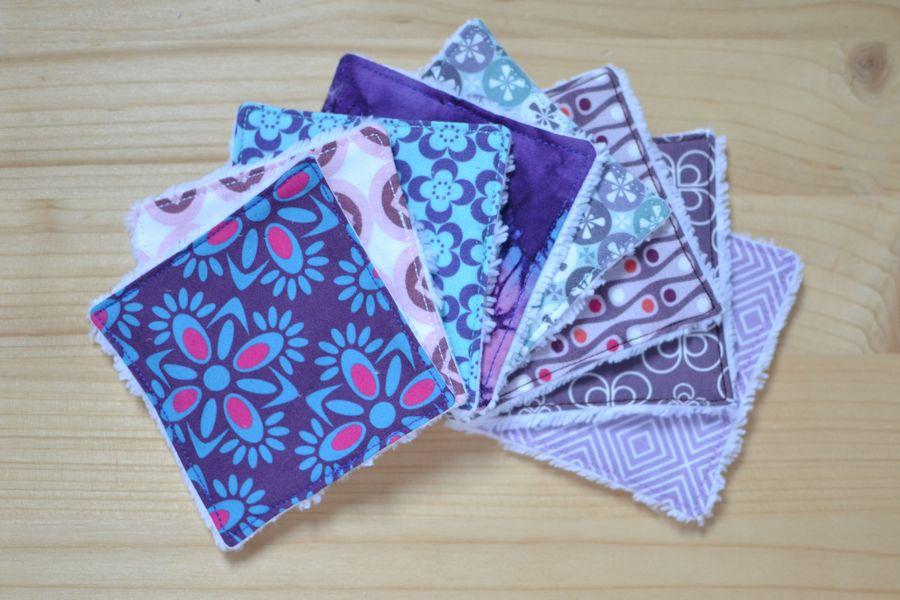 lot de lingettes démaquillantes lavables bleu violet gris