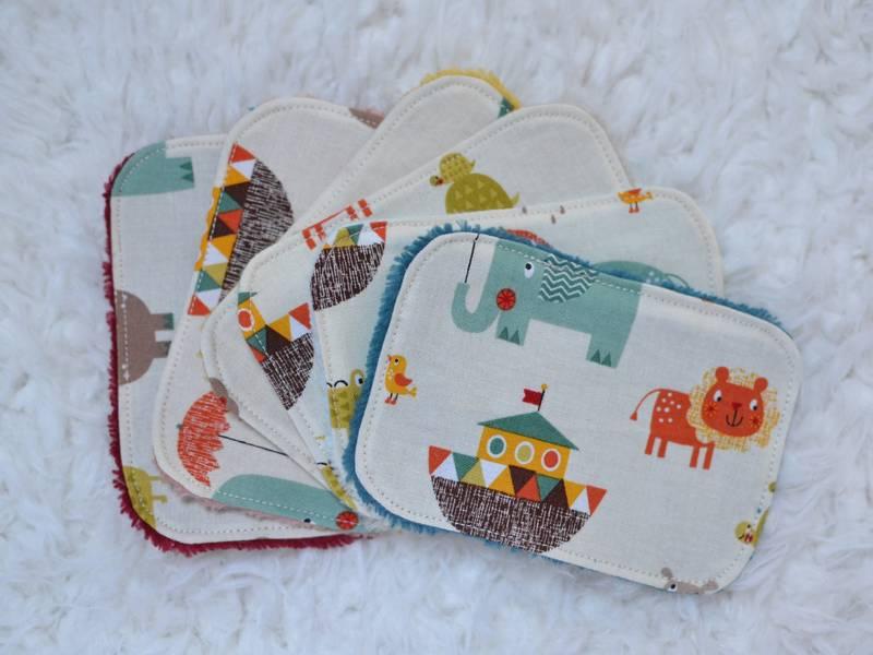 lingettes lavables bébé animaux multicolores