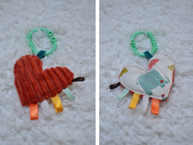 mini doudou cœur rouille éléphant turquoise