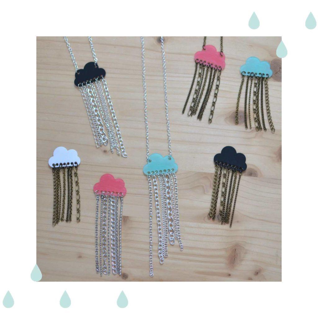 bijoux nuages et pluie de chaînettes