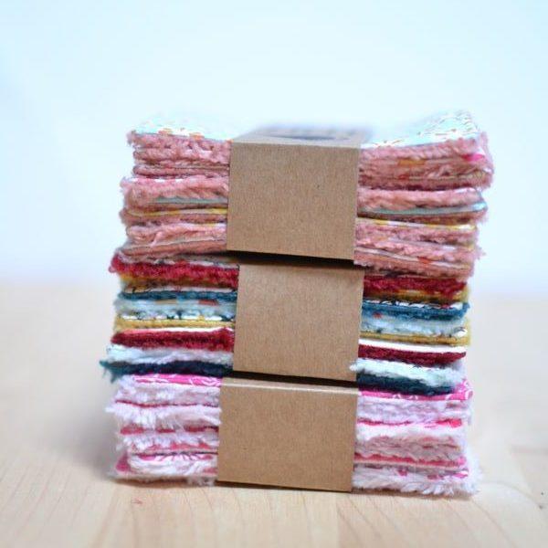 nouveaux lots de lingettes démaquillantes lavables colorées