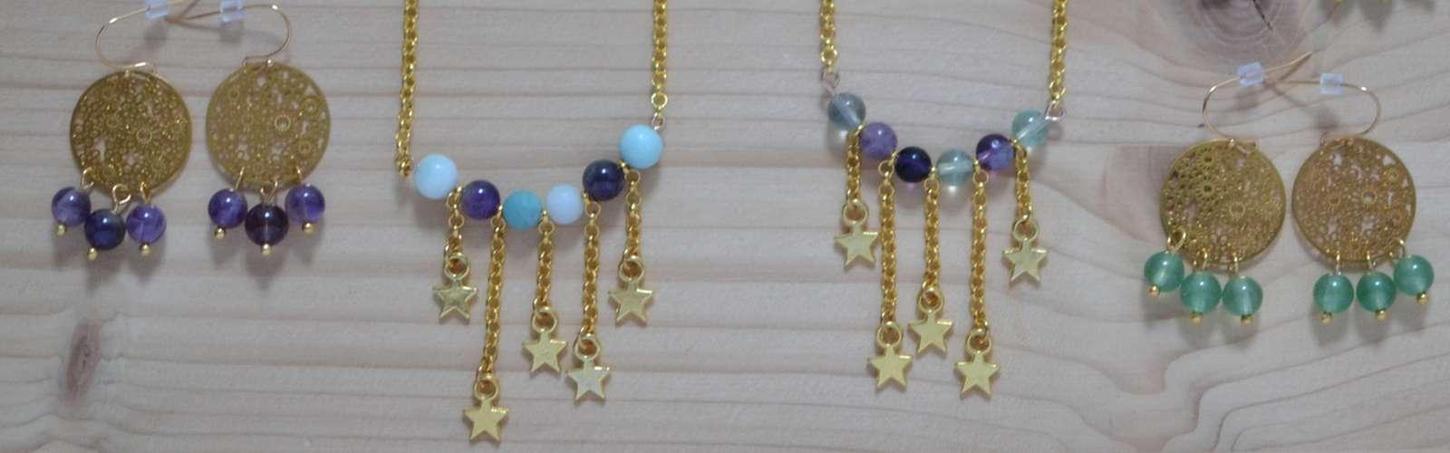 Collection de bijoux dorés et perles de gemme #BDJ146
