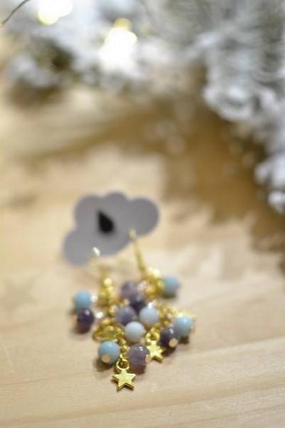 boucles d'oreilles pendantes dorées perles de gemme et étoiles