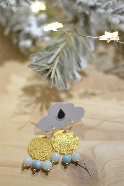 boucles d'oreilles dorées et perles de gemme bleu ciel en amazonite made in Velanne