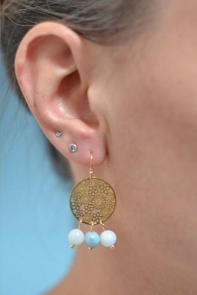 boucles d'oreilles dorées et perles de gemme bleu ciel en amazonite portées