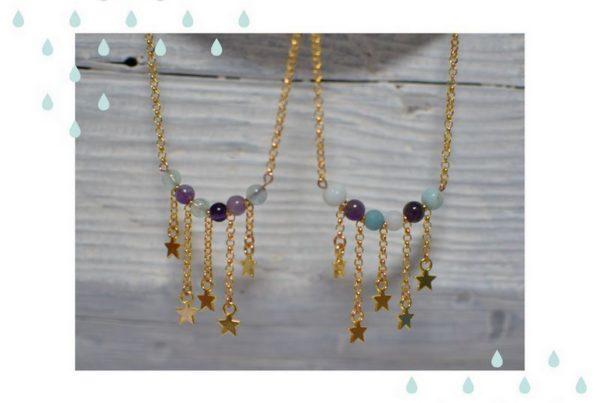 sautoirs étoilés dorés et perles de gemme