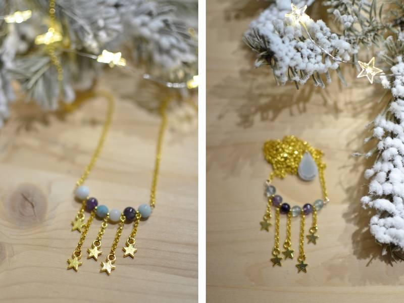 sautoirs plastrons étoiles filantes en métal doré et perles de gemme made in Velanne