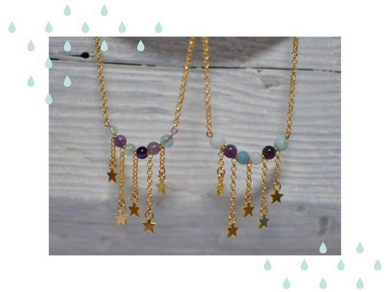 sautoirs étoiles dorées et perles de gemme