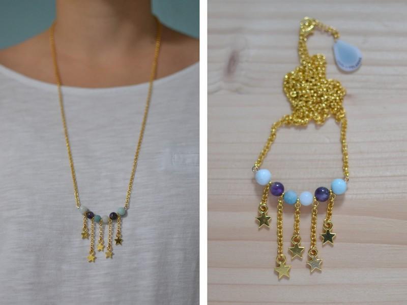 sautoir étoiles filantes doré et perles violettes et bleu ciel en améthyste et amazonite