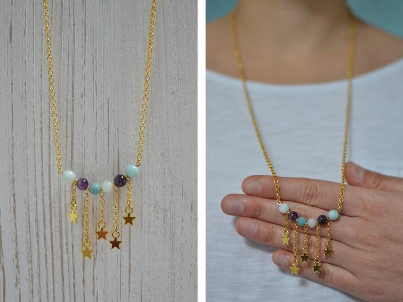 sautoir étoiles filantes doré et perles améthyste et amazonite