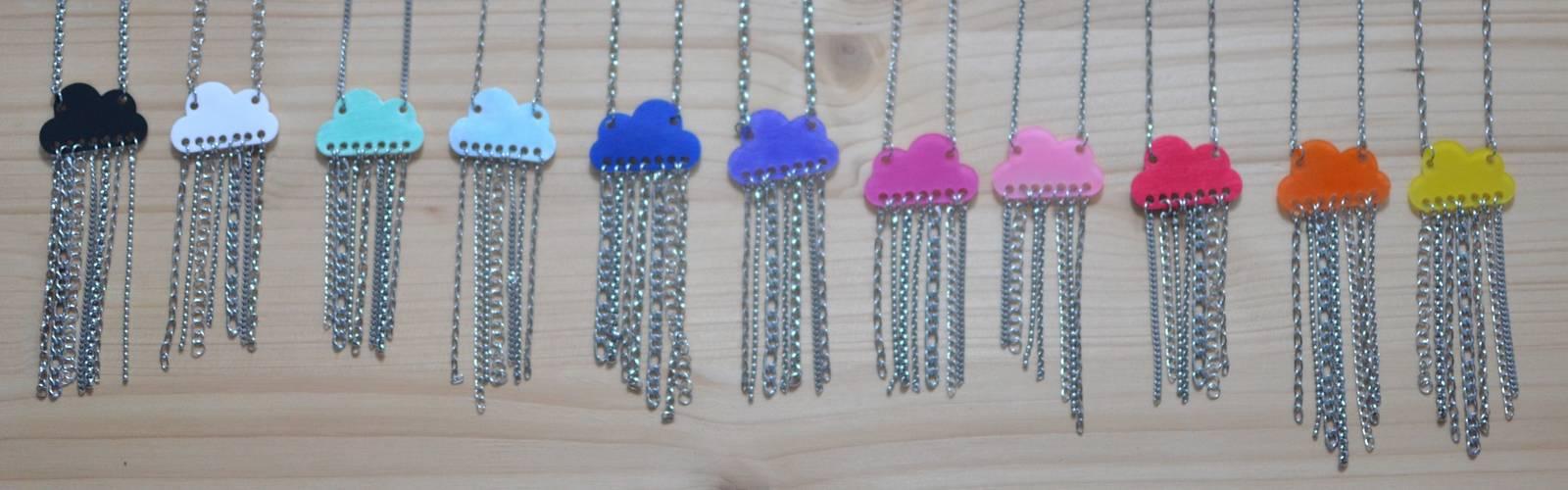 Collection de sautoirs nuages multicolores et pluie de chaînettes en inox pour A'Cajou #BDJ147