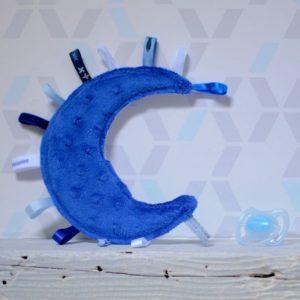doudou étiquettes lune minkee bleu électrique