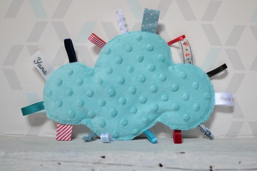 doudou étiquettes nuage minkee bleu