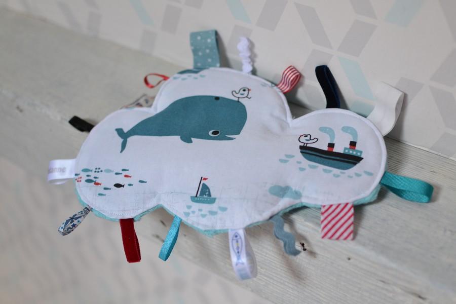 doudou étiquettes nuage tissu marin