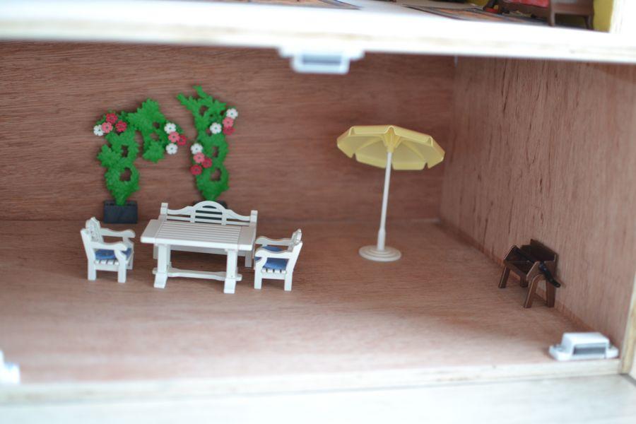 maison playmobil en bois ~ sous sol terrasse