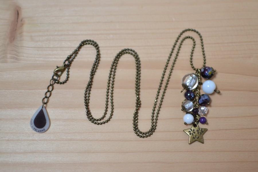 sautoir grappe étoile bronze vieilli et perles violettes et blanches