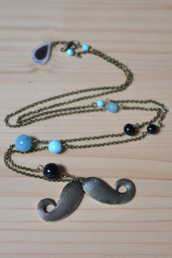 sautoir moustache bronze vieilli, perles noires et bleues
