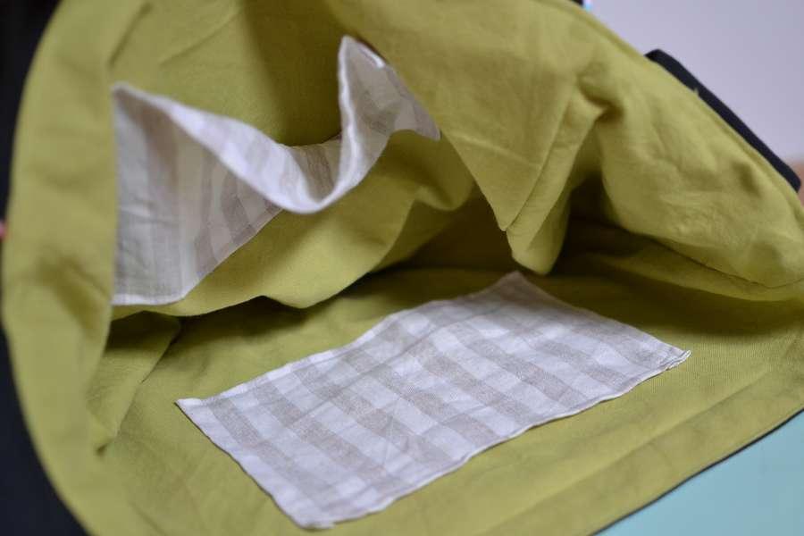 intérieur sac vert et lin rayé beige